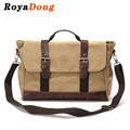 RoyaDong Brand 2017 Men Crossbody Bags Vintage Canvas With Crazy Horse Leather Men's Handbags High Quality Shoulder Tote Bag