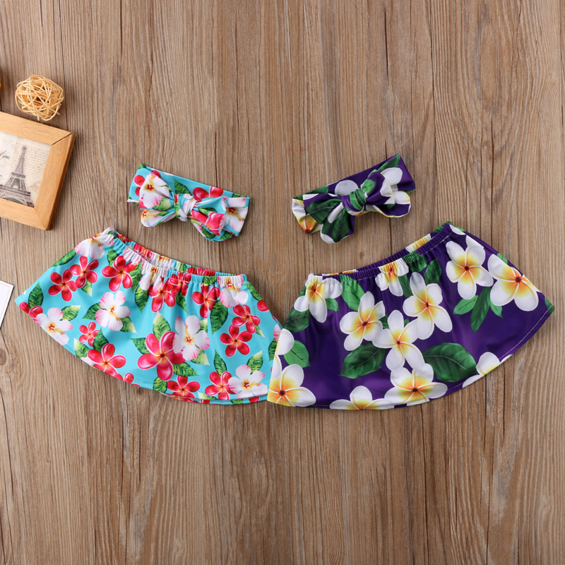New Fashion Newborn Baby Girl Clothes Floral Strapless Tops Skirts Headband Outfit Sunsuit 0-24M USA