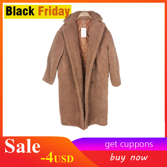 fake fur thick warm curly teddy coat new collection fashion trend winter female clothes oversize with underneath windbreak brown