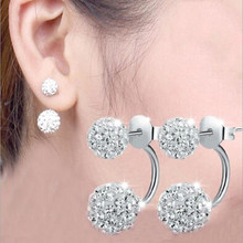 Shamballa Ball Dual-use Female S925 Sterling Silver Jewelry Temperament Crystal Simple Fashion Earrings  SE2 браслет на шнурках clay best crystal hematite shamballa 10 cz shambala shamballa shb069