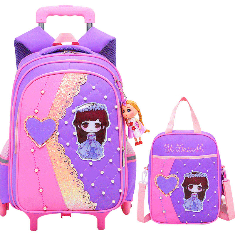 Cartoon Children School Bags Set Mochilas Kids Backpacks With 2/6 Wheels Trolley Luggage For Girls Backpack Wholesale