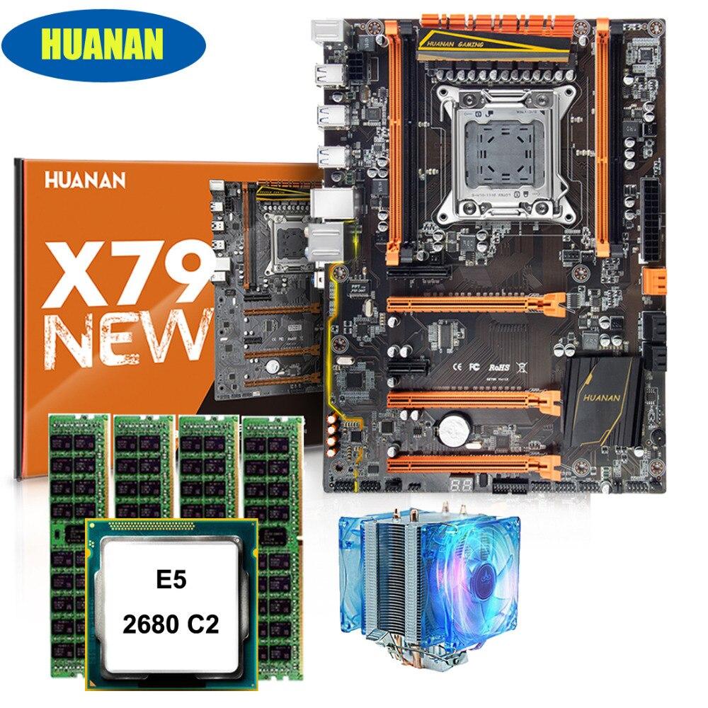 Edificio perfecto computadora HUANAN ZHI deluxe X79 placa base gaming conjunto Xeon E5 2680 C2 con enfriador RAM 32G (4*8G) DDR3 1600 RECC