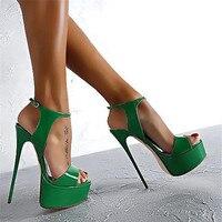 Big Shoe Size 34 44 45 46 Sandals Women Platform Shoes Sexy 16 CM High Heels Open Toe Buckle Nightclub Shoes black white red