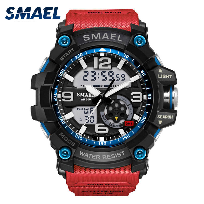 Smael Watch Sport Men's Wristwatch LED Digital Clock Waterproof Dual Time Wristwatch Military Watch 1617 Mens Watches Military plus eyelash lace blouse with solid cami