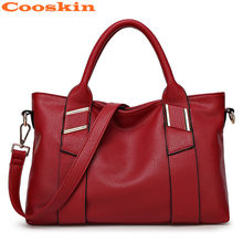 PU Leather Satchels Red Brown Black Yellow Blue American Style Women Handbags Totes Bags(China)