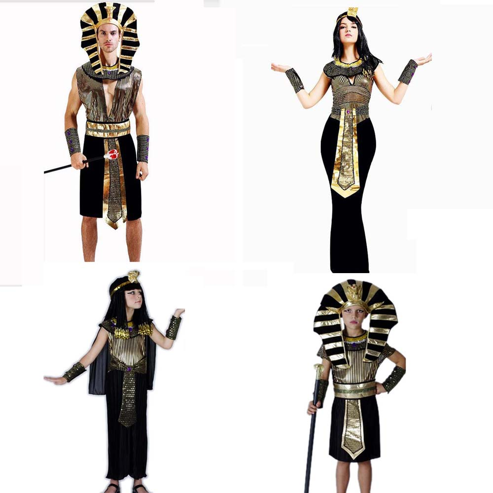 e586fb75166e Della Ragazza del ragazzo Delle Donne Degli Uomini di Antico Egitto Re  Queen Faraone Amanti Costume Cosplay Prestazioni Costumi di Carnevale Festa  di Purim ...