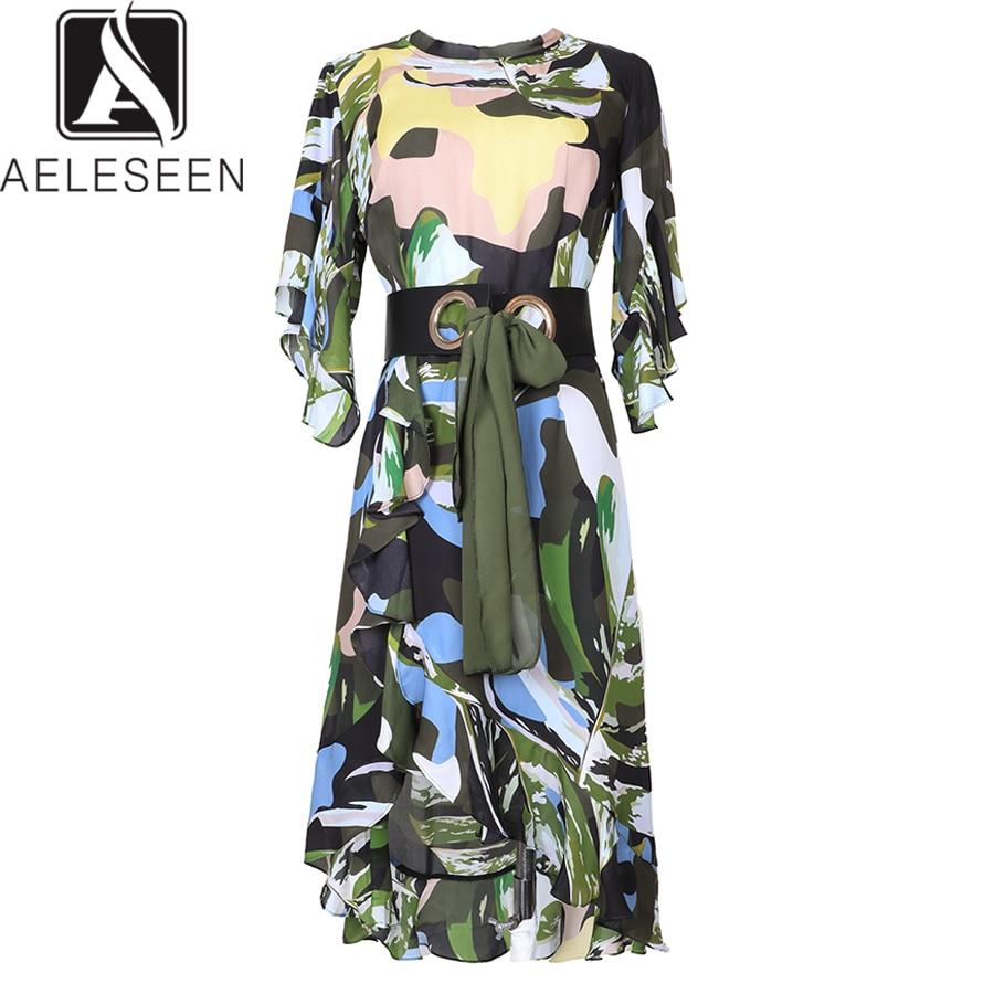 Kadın Giyim'ten Elbiseler'de AELESEEN Yüksek Kaliteli Ipek Elbise 2019 Bahar Yaz Yeni kadın Kısa Kollu Ruffles Düzensiz Baskı Kamuflaj Elbise'da  Grup 1