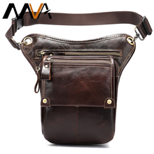MVA Leather Funny Waist Packs Drop Leg Bags Belt Pouch Mens Motorcycle Leg Bag Genuine Leather Phone Pouch Male Hip Packet 3237