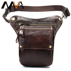 Image 1 - MVA Leather Funny Waist Packs Drop Leg Bags Belt Pouch Mens Motorcycle Leg Bag Genuine Leather Phone Pouch Male Hip Packet 3237