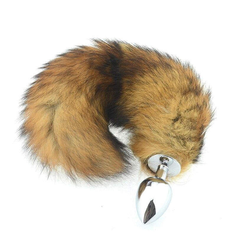 3 tamanhos de Metal Anal Erótico Butt Plugs, Raposa Cauda Longa, ânus Brinquedos Sensuais Para As Mulheres & Homens, Engraçado Adulto Amor Fox Cauda AS026S