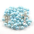 Fashion 8 mm ABS plastic bead catholic rosary, 4 colors selectable, Silver plated stitches