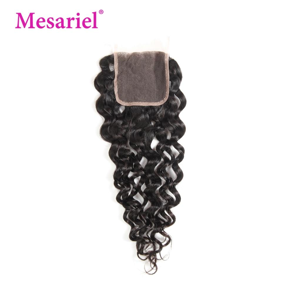 Mesariel Human Hair Lace Closure Brazilian Water Wave Remy Hair Natural Color 100% Human Hair Free Part 4x 4 Lace Closure