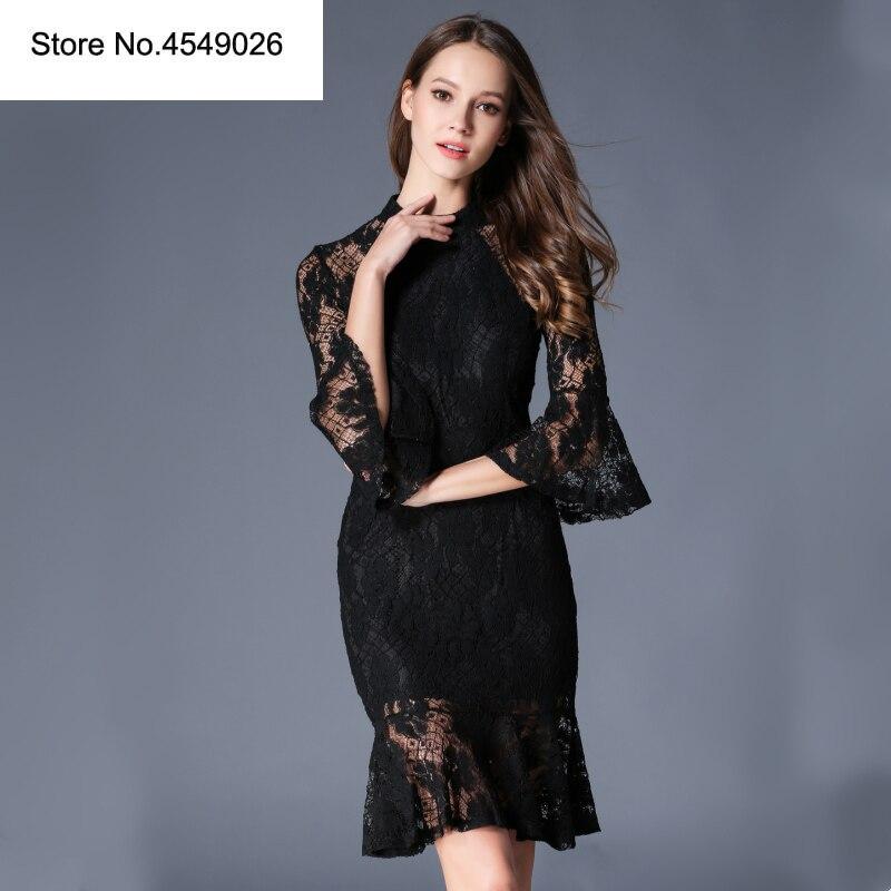 2019 robe femmes col montant Slim queue de poisson Sexy robes 3/4 Flare manches dentelle robe d'été courte moulante robe de soirée robes