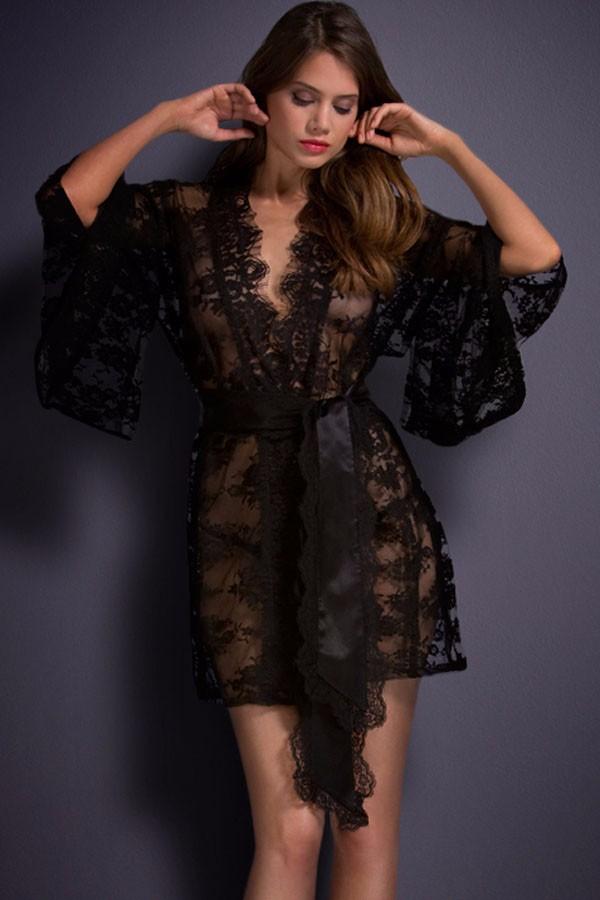 Black-Belted-Lace-Kimono-Nightwear-LC21998-2-3