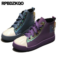 Patent Leather High Top Flats Purple Sneakers Designer Shoes Women Luxury 2019 Winter Round Toe Quality Metal Lace Up Peacock