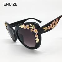 Fashion Flower Sunglasses Women Brand Designer Luxury Ladies Cat Eye Sun Glasses For Women Eyewear Oculos