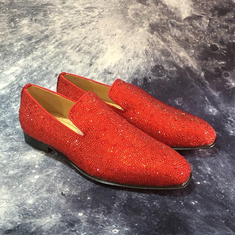 Marca de lujo para hombre mocasines de cristal de moda Slip On zapatos planos ocasionales zapatos de fiesta brillante zapatos de boda zapatos de negocios zapatos de mujer