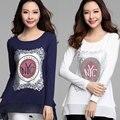 Más Tamaño mujeres de la camiseta 2016 Nuevas cartas de impresión de Algodón camiseta suelta de manga larga más tamaño camiseta de las mujeres encabeza poleras de mujer