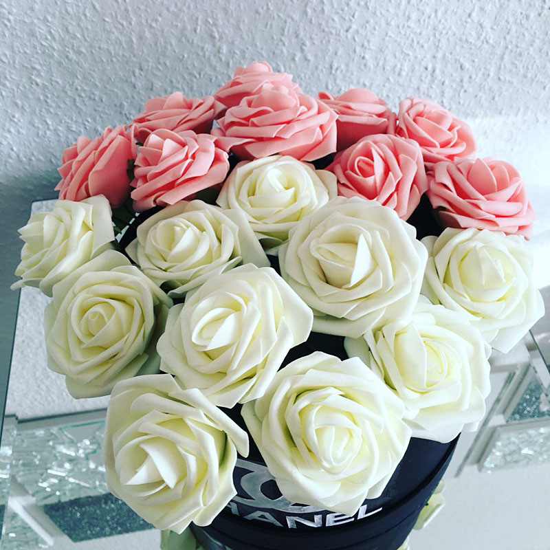 10pcs Artificial Flowers Home Decoration 8cm Rose Flowers For Wedding Bride Bouquet PE Foam DIY Small Rose Flowers Blossom