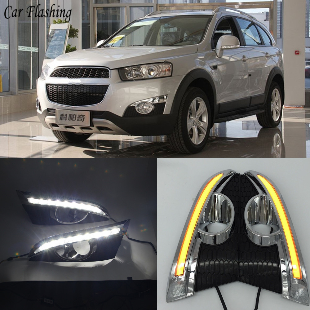 Car flashing 2PCS  turn Signal Relay  12V LED DRL Daytime Running Lights with fog lamp hole For Chevrolet Captiva 2011 2012 2013