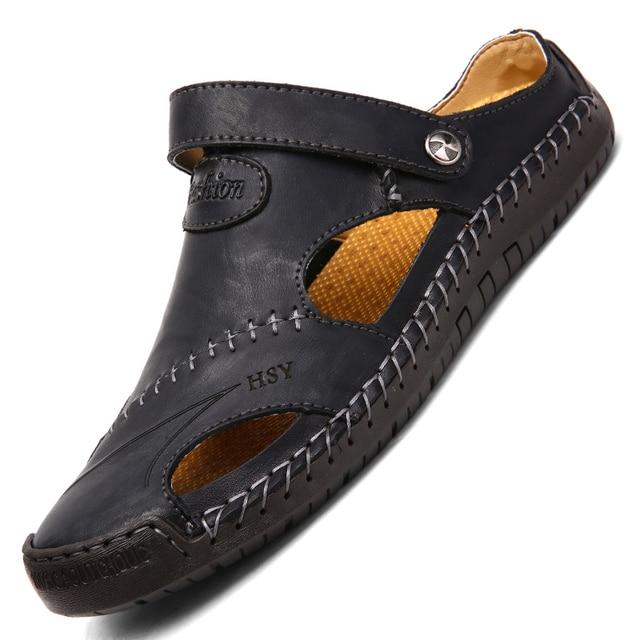 New Classic Leather Men Soft Sandals Shoes Summer Leisure Beach Roman Men Sandals High Quality Sandals Slippers Bohemia Big Size 1