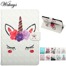 Wekays Per Apple Ipad Air 2 Ipad 6 A1566 A1567 Cartoon Unicorn Cuoio Fundas Caso Per Ipad Aria 2 Ipad6 caso della copertura Per Ipad Air2(China)