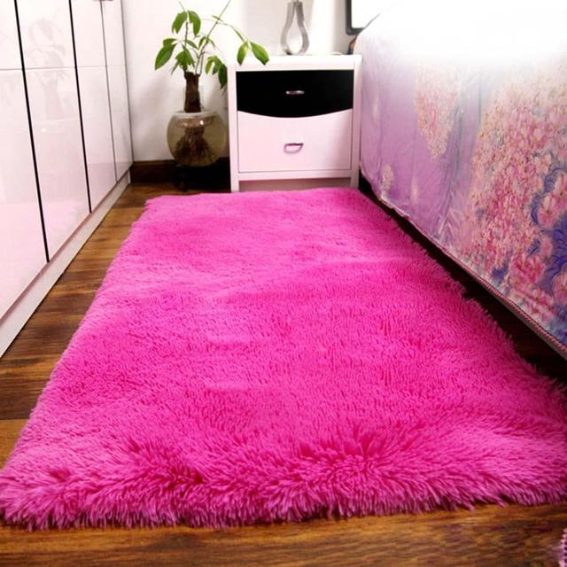 Fluffy Rugs Anti Skiding Shaggy Area Rug Dining Room Carpet Floor ...