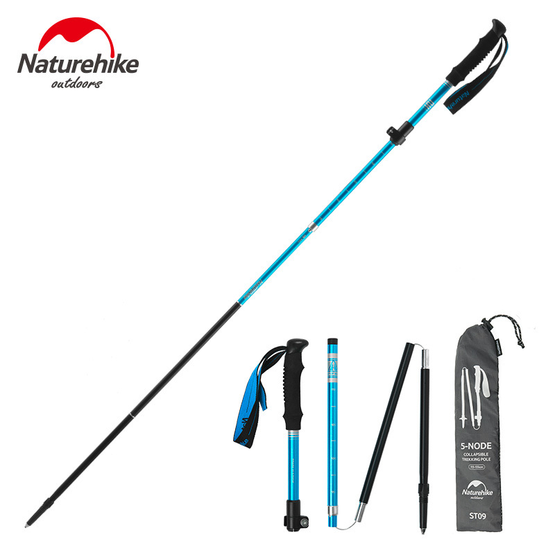 Naturehike Nordic Walking Sticks Telescopic Trekking Hiking Poles Ultralight Canes Folding Adjustable 5-section Hiking Sticks 2 pcak carbon fiber trekking hiking poles ultralight telescopic trail nordic walking sticks 198g pcs