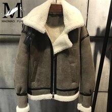 Winter Genuine Leather Jackets Women Hooded Shearling Jacket Moto Thick Warm Merino Sheep Fur Coat Female