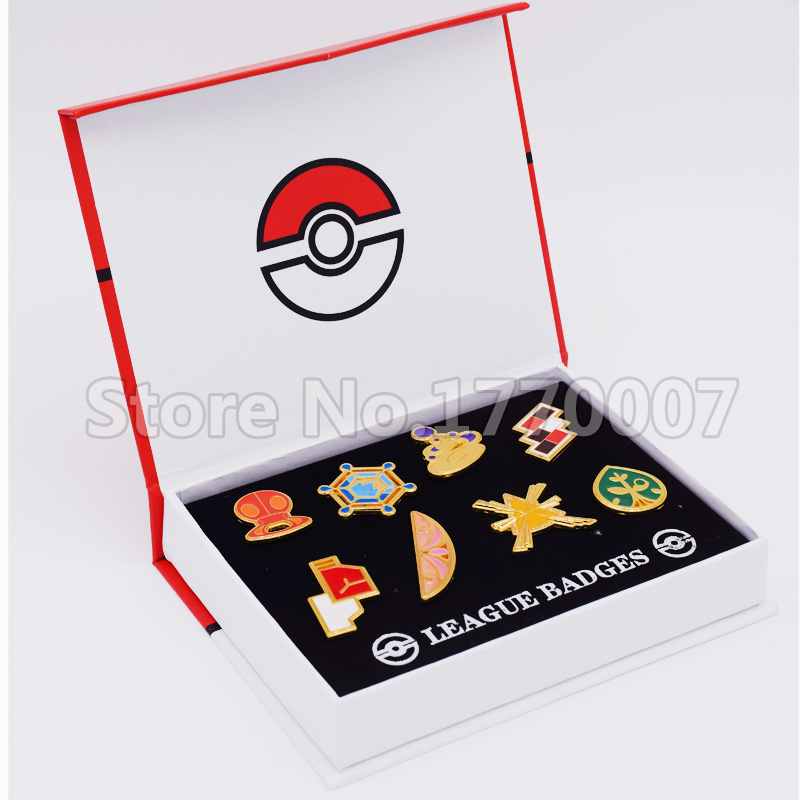 Pokemon Gym Badges Kalos Region League Pins Brooches 8pcs New in Box Collection Gift