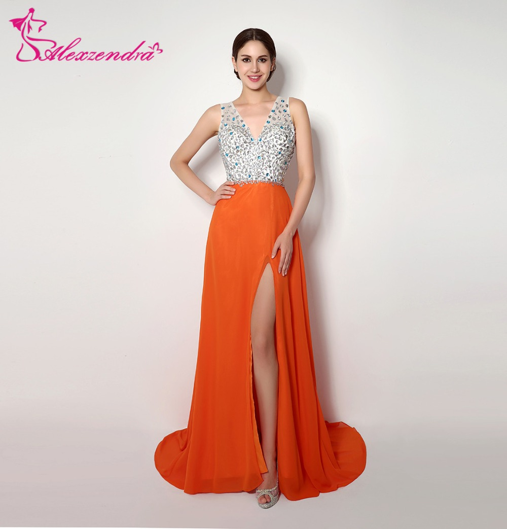 Alexzendra Stock   Dress   Orange Chiffon Double V Neck   Prom     Dresses   Crystals Beads Party   Dresses   for Girls