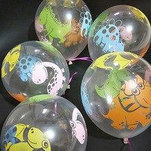 10 adet/grup 12 inç Dino doğum günü balonlar dinozor orman vahşi hayvan partisi lateks balonlar çocuklar doğum günü partisi hava balonu Jurassic