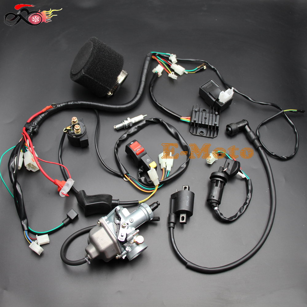 us $65 14 16% off full wiring loom harness cdi ignition coil relay pz30 carby carburetor air filter dirt pit bike 150cc 200cc 250cc new e moto in