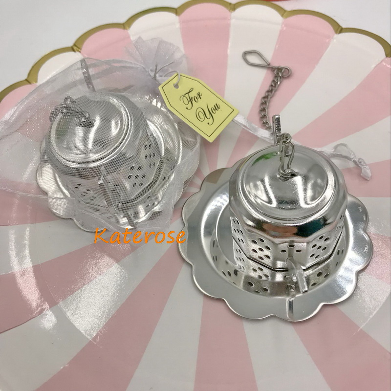 (100pcs/Lot)FREE  SHIPPING Cheap Wedding Kitchen Favors Eco-Friendly Stainless Steel Teapot Tea Infuser Bridal Shower Favor