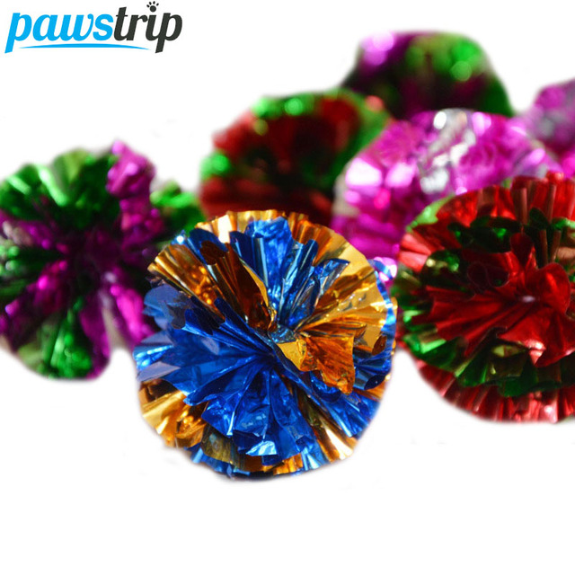 6pcs/lot Diameter 5cm Mylar Crinkle Ball Cat Toys Interactive Colorful Ring Paper Pet Toy For Cats Kitten