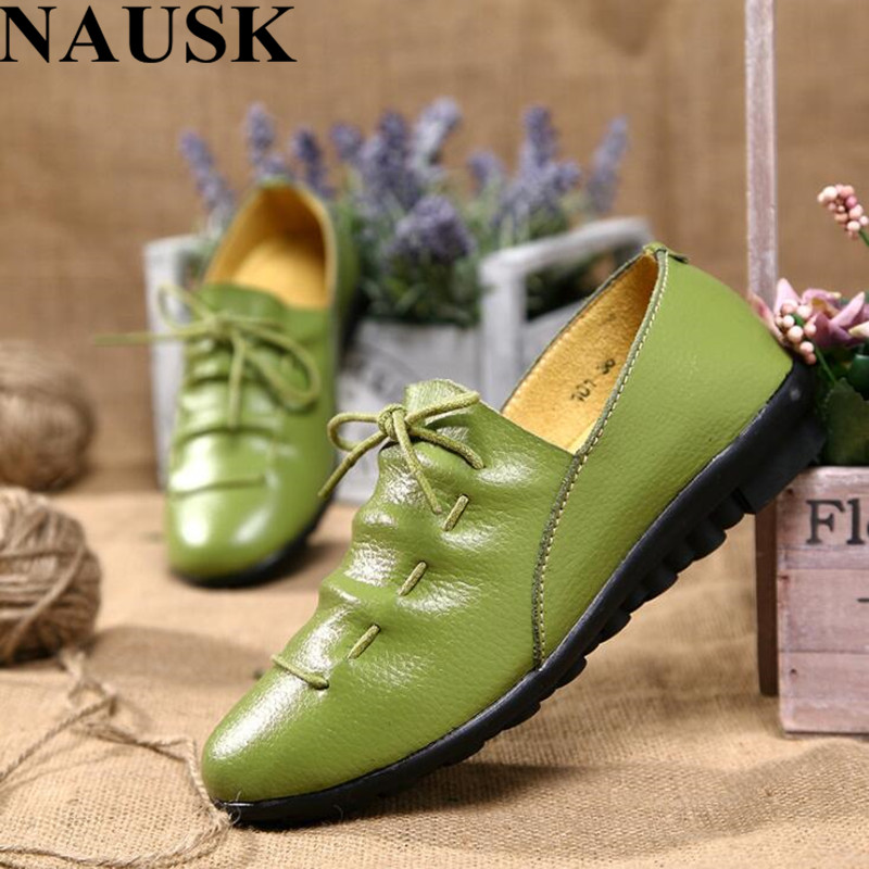 NAUSK Dress shoes woman party ladies flats plated genuine leather basic female shoes lace-up spring/autumn shoes size 35-41NAUSK Dress shoes woman party ladies flats plated genuine leather basic female shoes lace-up spring/autumn shoes size 35-41