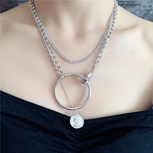 Vintage Coin Beauty Head Pendant Necklace Big Round Circle Choker Necklaces Women Hip Hop Jewelry тумба белый глянец 80 см aqwella 5 stars milan mil 01 08 2n w