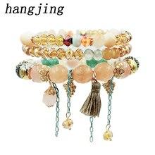 hangjing 3pcs /set 2019 Unique Woman Tassel Grape Chains Jewelry Bangle Natural Stone Bracelets Crystal Bead Stretch Bracelet