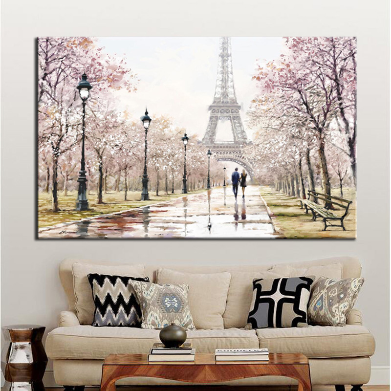 Romantic City Lovers Paris Eiffel Tower Landscape HD Print Abstract Oil Painting On Canvas Wall Art Living Room Sofa Home Decor