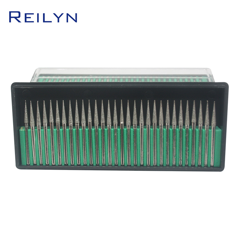 Reilyn 30 Pieces/Set Tool Abrasive Diamond Grinding Head Cone Type 120# 3x3mm Stone Peeling Jade Polishing Grinding Point