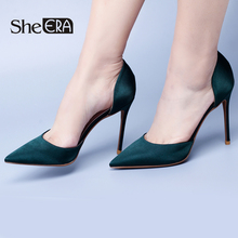 Купить с кэшбэком She ERA Slip on Women Pumps Elegant High Heel Shoes Pointed Toe Silk Ladies Shoes Woman 2017 D'Orsay & Two-Piece Women Pumps