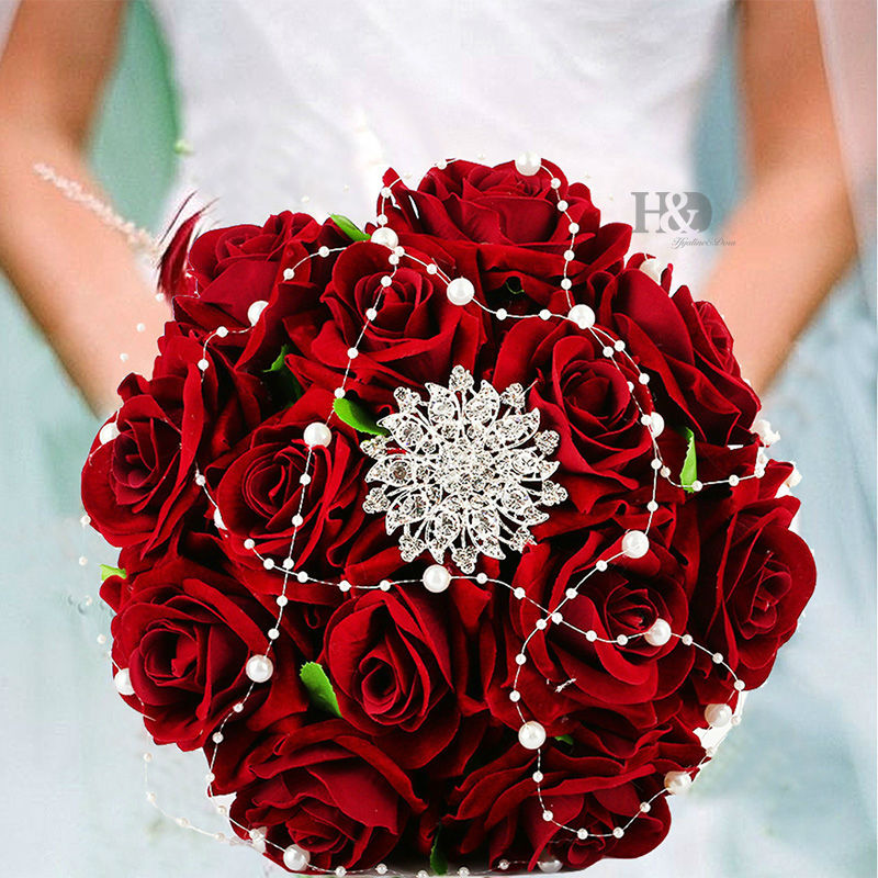 Red Rose Wedding Flowers: 2016 Bejeweled Brooch Wedding Bouquet Roses Red Roses