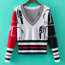 European station TB autumn and winter new ladies V collar cashmere sweater short knitted sweater