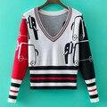TB estación europeo de otoño e invierno nuevas señoras V cuello suéter de cachemira, corto suéter de punto