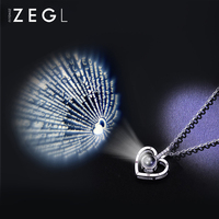 ZEGL love memory necklace female clavicle chain fashion sterling silver 100 kinds I love you necklace