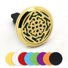 BOFEE Car Essential Oil Diffuser Locket Vent Clip Aroma Lotus Magnetic Aromatherapy Stainless Steel Perfume Pendant Gift 30mm bofee stainless steel magnet car essential oil diffuser locket aromatherapy perfume oil locket vent clip jewelry gift 30mm