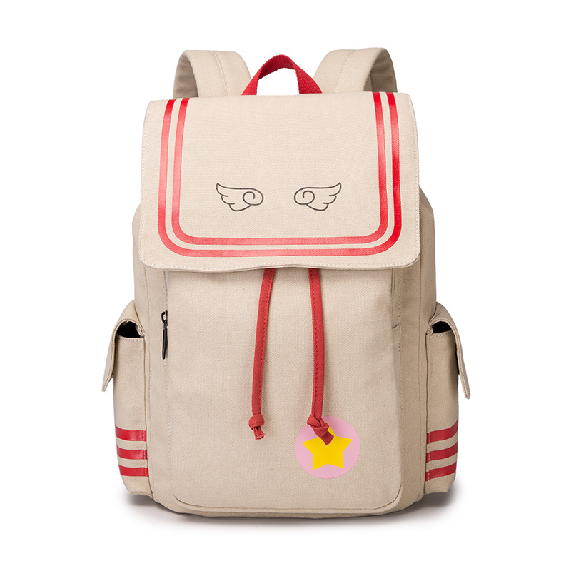 New Card Captor SAKURA Printing Backpack Kawaii Women Shoulder Bags SAKURA Laptop Backpack Canvas School Bags for Teenage Girls anime card captor sakura the clow kero backpack girls shoulder bag pink cute travelling bag