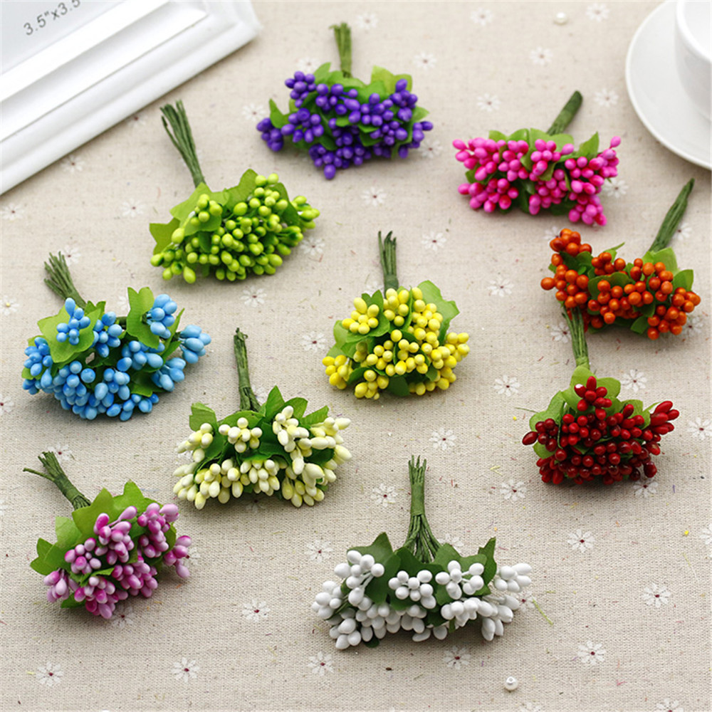Cheap 10pcs Plastic Artificial Stamen Flowers Bouquet For Wedding