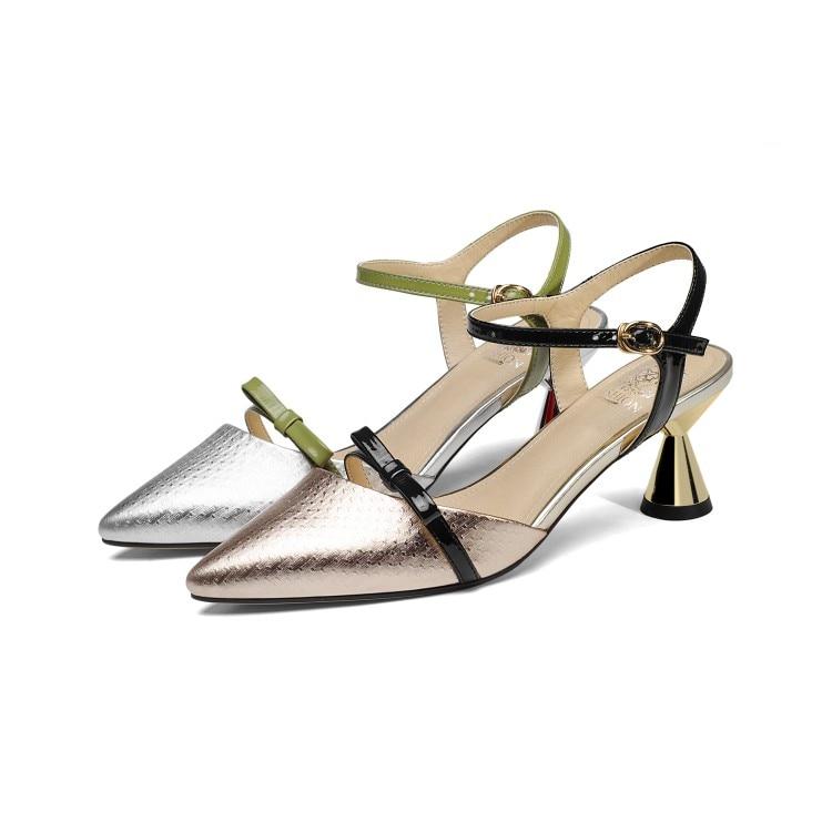 MLJUESE 2018 vrouwen sandalen lederen enkelbandje Zilver kleur puntschoen slingbacks hoge hakken pumps vrouwen maat 33 43-in Hoge Hakken van Schoenen op  Groep 2