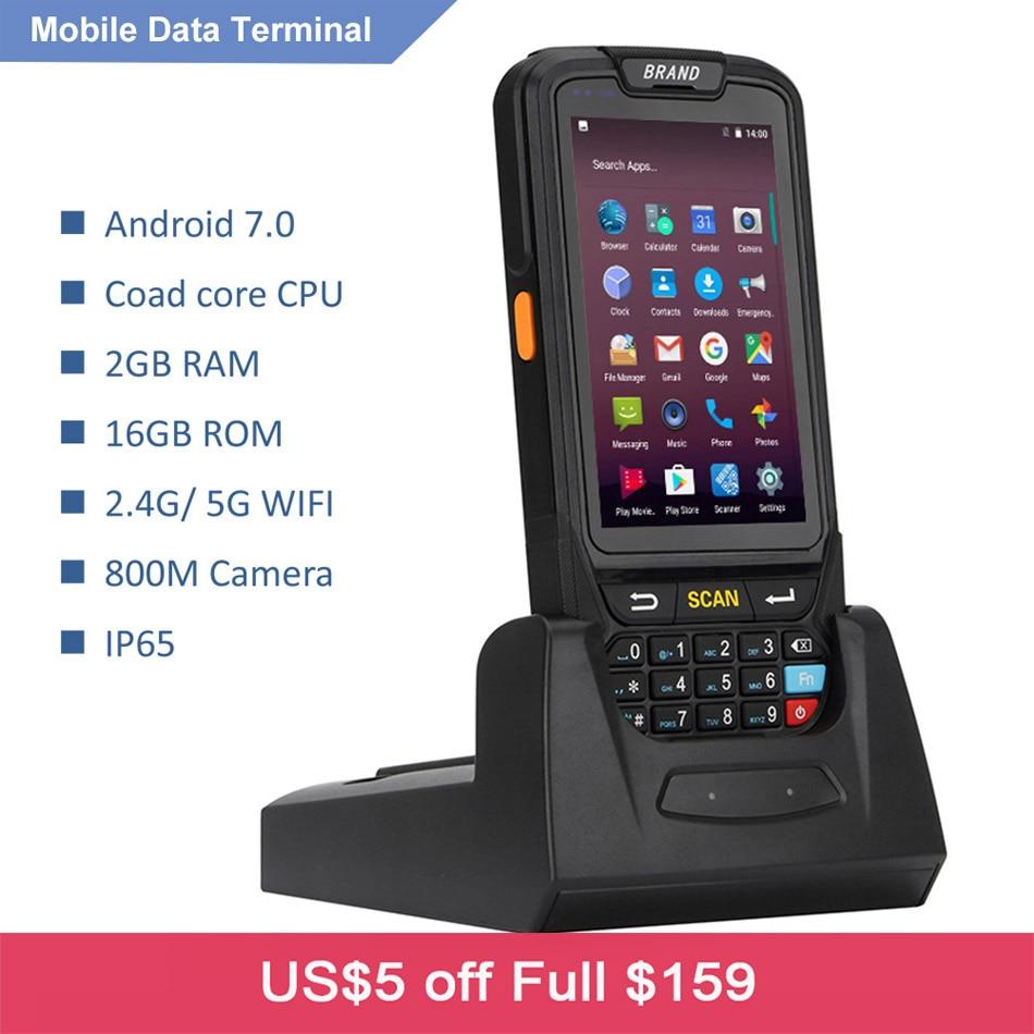 Android 7.0 Handheld terminal pos com leitor de NFC leitor RFID UHF 1D 4 polegada tela grande Terminal de Dados de memória, 2D Barcode Scanner A Laser